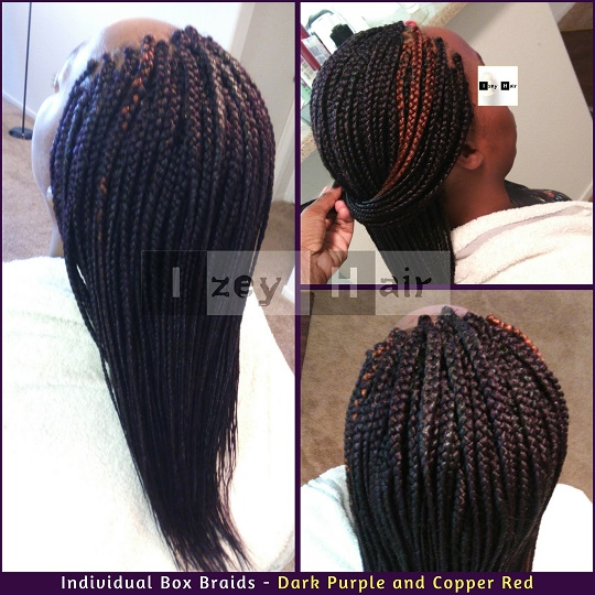 Individual Box Braids - Dark Purple and Copper Red - IzeyHair