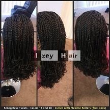 Senegalese twists - Colors 1B and 30 - Curled with Flexible Rollers (flexi rods) - Izey Hair