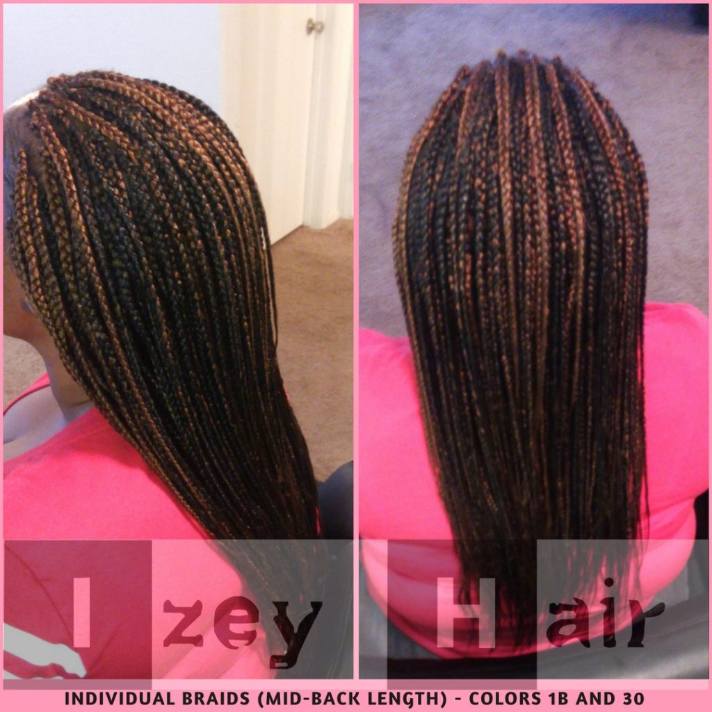 Individual Braids (mid-back length) - Colors 1B and 30