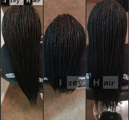 Long individuals - small box Braids - Colors 1B and Burgundy - Izey Hair Braids