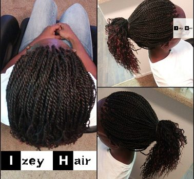 Senegalese Twists with Curled Ends - Colors 1B and Burgundy - Izey Hair