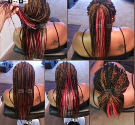 Customized Fire Colored multicolored Box Braids - 1B, 30, 27, 350, Red and Silver