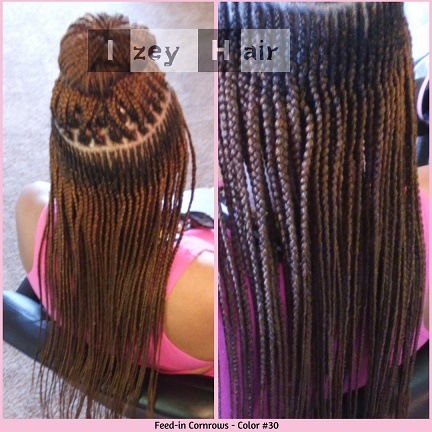 feed in cornrows (french braids). color 30