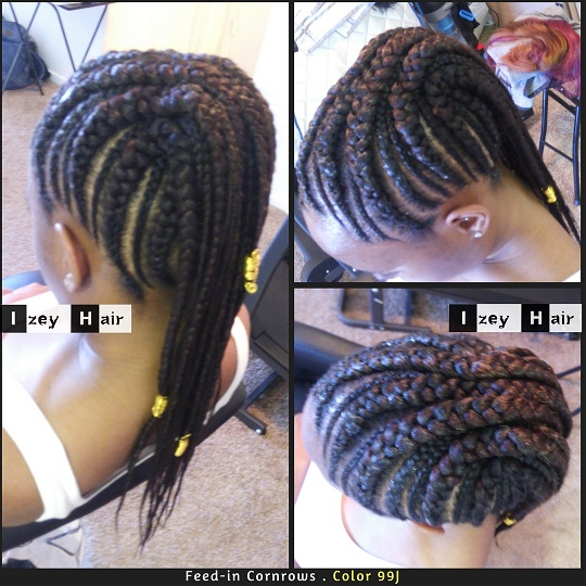 Feed-in Cornrows - dark auburn color 99J. Izey Hair