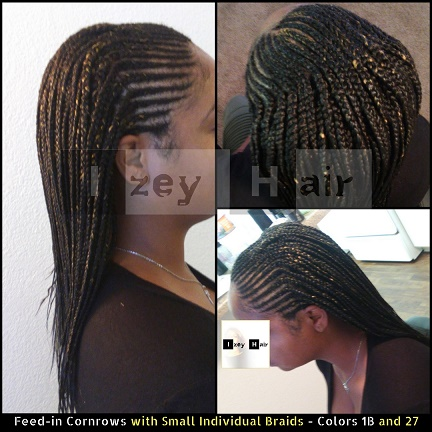 Feed-in Cornrows with Small Individual Braids - Colors 1B and 27