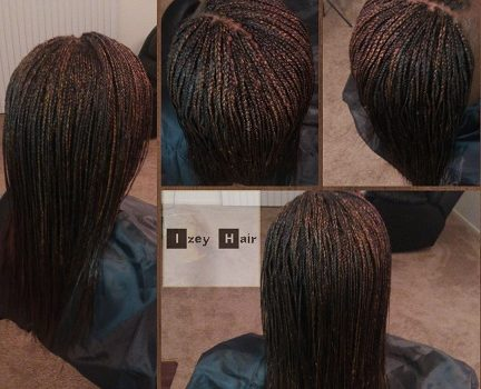 Micro-Braids (Micros) with a side part. Colors 99J and 30 - Izey Hair