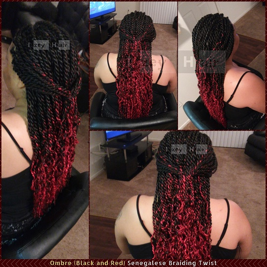 Ombre (Black and Red) Senegalese Braiding Twist - Izey Hair in Las Vegas Nevada