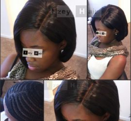 Sew-in Bob Weave with Brazilian Hair and Lace Closure -Without Glue - NO GLUE - Izey Hair