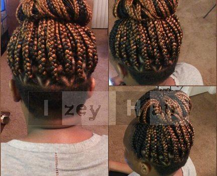 Triangle Part Undercut Box Braids - Colors 1B and 30 - Izey Hair