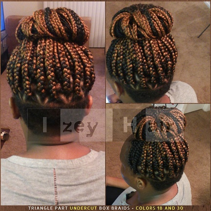 Triangle Part Undercut Box Braids - Colors 1B and 30 - Izey Hair