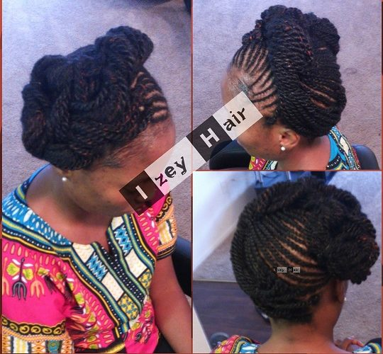 Cornrows and Kinky Twist in an Up Do - Color 1B (black) with little red highlights - Las Vegas
