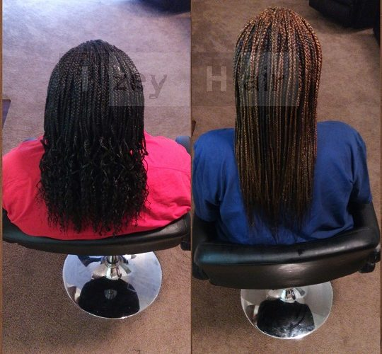 Individual Braids - Curled ends - Color 1B - Straight ends - Colors 30 & 99J
