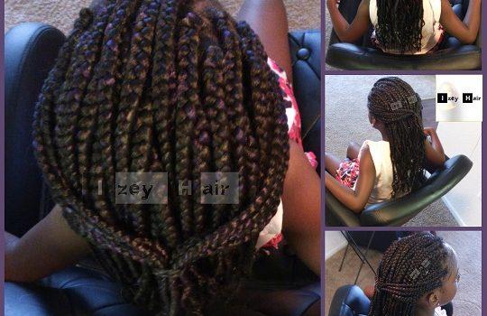 Kid-friendly Box Braids - Black with Purple Highlights - Izey Hair - Las Vegas