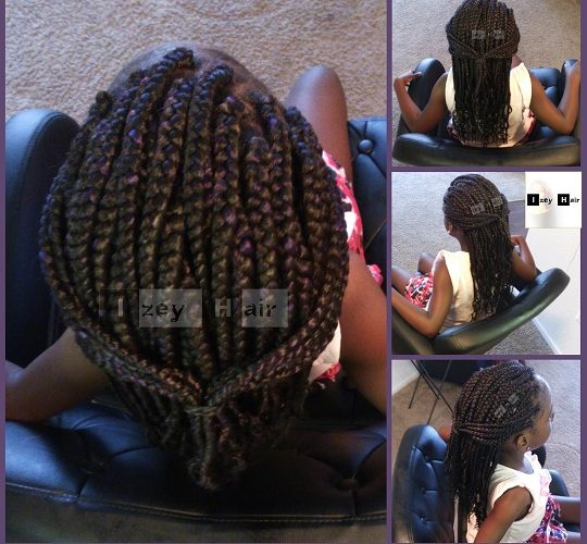 Kid-friendly Box Braids - Black with Purple Highlights - Izey Hair - Las Vegas