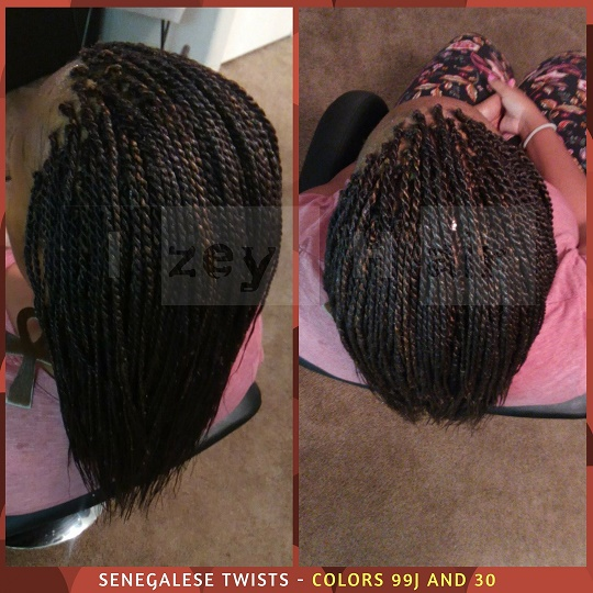 Senegalese Twists - Colors 99J (Dark Auburn) and 30 (Medium Auburn) - Izey Hair -- Las Vegas, NV