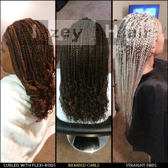 Senegalese Twists - Ends Curled with Flexi-rods, Braided Curls, Straight Ends. Silver Gray Braids -Izey Hair Las Vegas