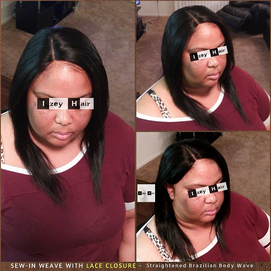Sew-in Weave with Straightened Brazilian Body Wave and Lace Closure - IzeyHair - Las Vegas, NV