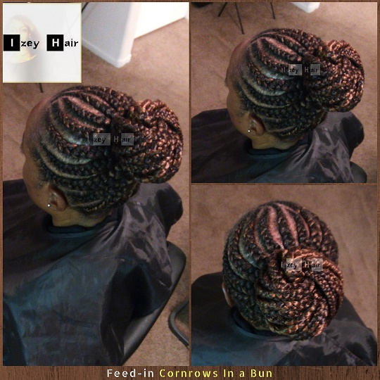 Feed-in Cornrows in a Bun - Colors 99J and 30