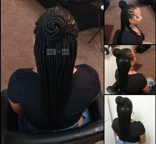 Feed In Cornrows In A Bun With Individual Braids