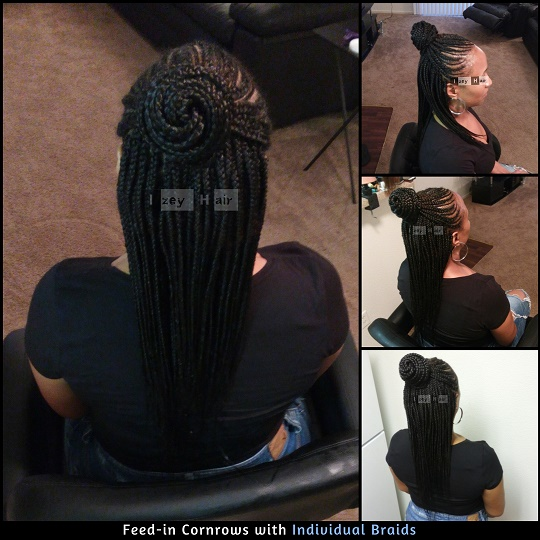 Feed-in Cornrows in a bun, with Individual Braids - Izey Hair - Las Vegas, NV