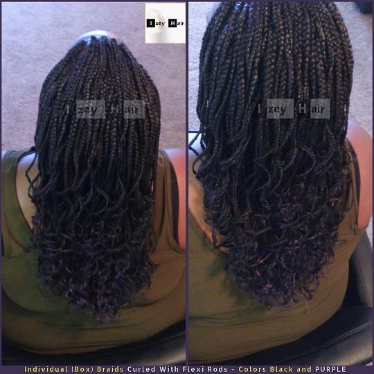 Individual (Box) Braids Curled With Flexi Rods - Colors Black and PURPLE - Izey Hair - Las Vegas, NV