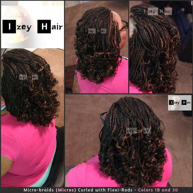 Microbraids (Micros) Curled with FlexiRods - Colors 1B and 30 - Izey Hair - Las Vegas, NV