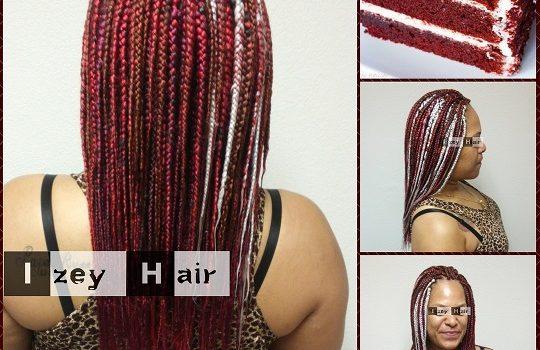 Food Inspired Hair Styles - Red Velvet Cake Individual Box Braids - Izey Hair - Las Vegas
