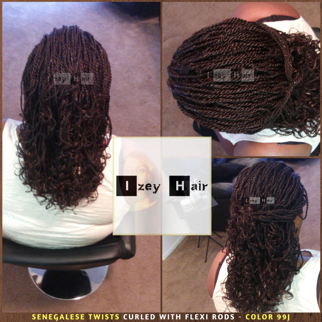 Senegalese Twists Curled With Flexi Rods - Color 99J - Izey Hair - Las Vegas, NV