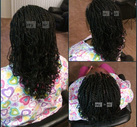 Senegalese Twists with Curled Ends (Flexible Rods)