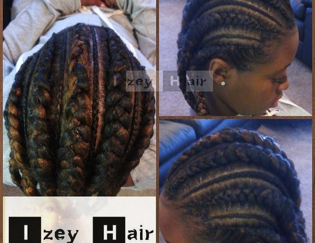 Big and Small Feed-in Cornrows - Feed in Braids - No Knot Cornrows- Colors 30 (Medium Auburn) and 2 (Brown).