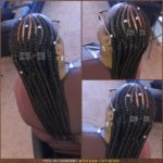 Feed-in cornrows with silver ornate decorative and adjustable hair cuff beads - Izey Hair - Las Vegas, NV