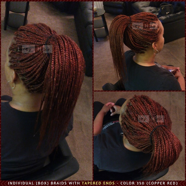 Individual Box Braids With Tapered Ends Color 350