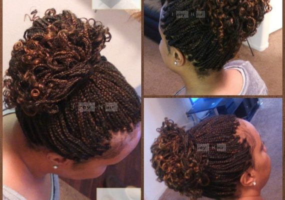 Individual Braids Curled With Rollers - Colors 30 (Medium Auburn) and 4 (Light Brown)