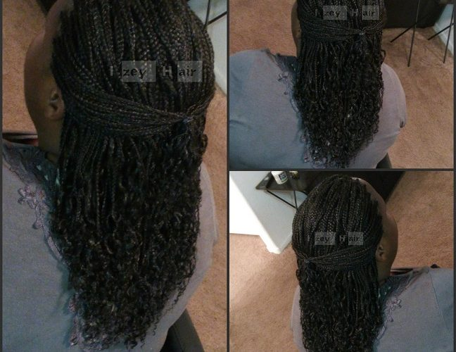 Individual Braids with Curled Ends - Color 1B (Off-Black) - Izey Hair - Las Vegas Nevada