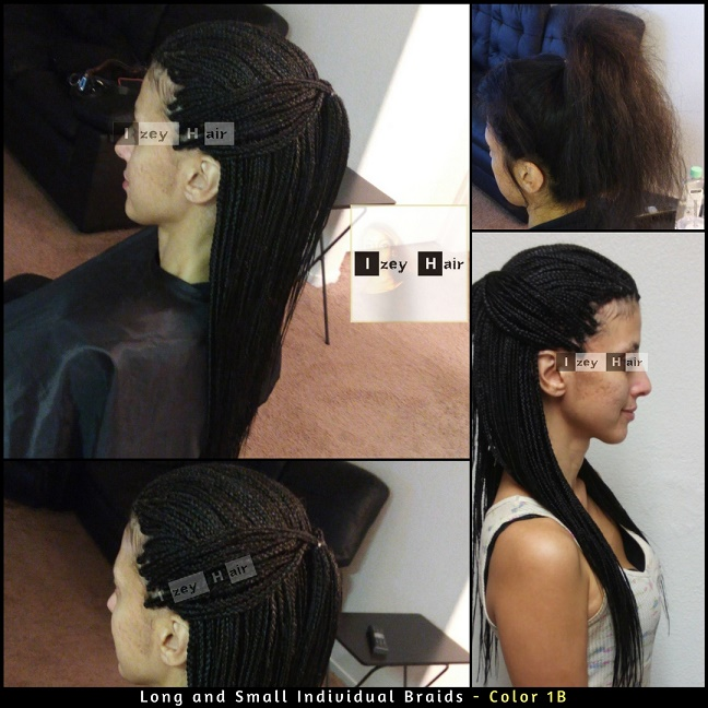 Long and Small Individual Braids - Color 1B (Off-Black) - Izey Hair - Las Vegas Nevada