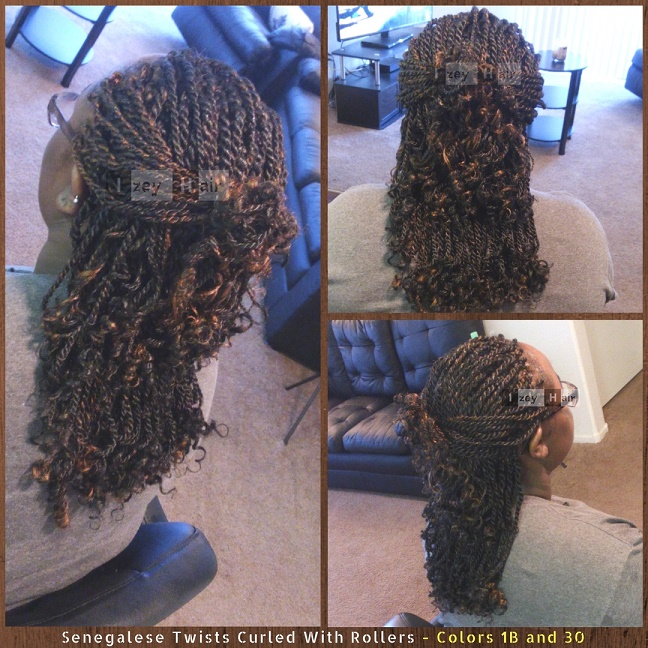Senegalese Twists Curled With Rollers - Colors 1B (Off-Black) and 30 (Medium Auburn). Photo of Twist by Izey Hair - Las Vegas, NV. I used Xpressions Braiding Hair