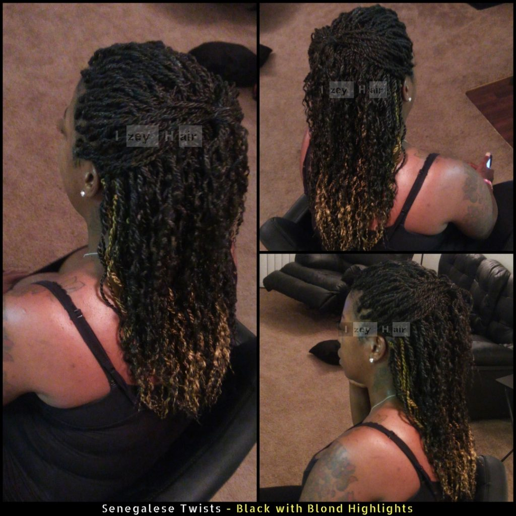Senegalese Twists black and blond highlights - Dark Purple - Izey Hair - Las Vegas, NV
