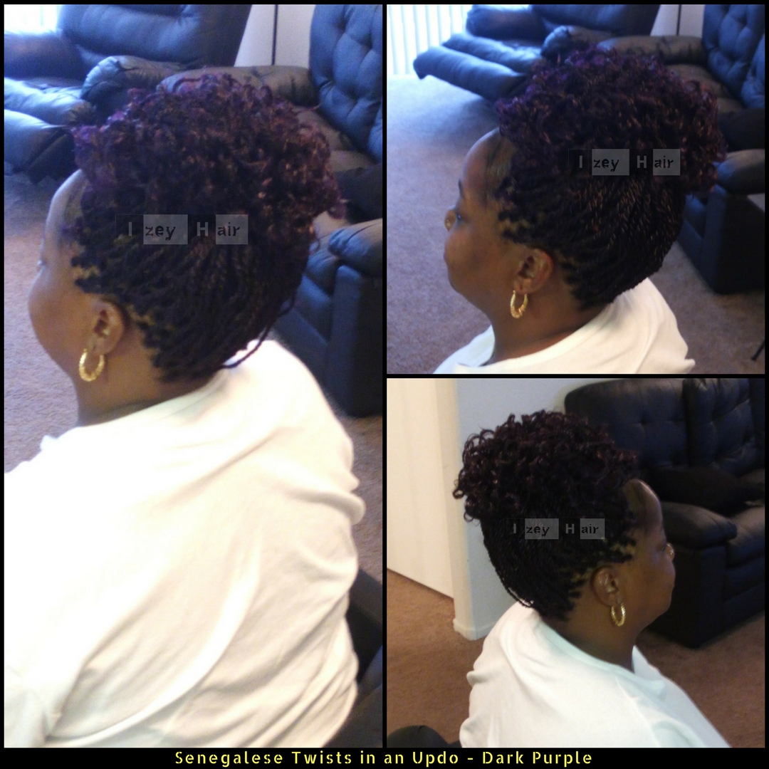 Senegalese Twists in an Updo - Dark Purple - Izey Hair - Las Vegas, NV