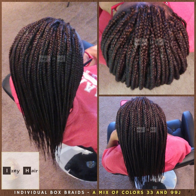 Individual Box Braids - A Mix of Color 33 and Color 99J - Izey Hair - Las Vegas, NV