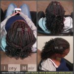 Individual Box Braids Curled with Rollers : Off-Black with Burgundy Highlights . Las Vegas, NV (702) 907-4939 izeyhair.com