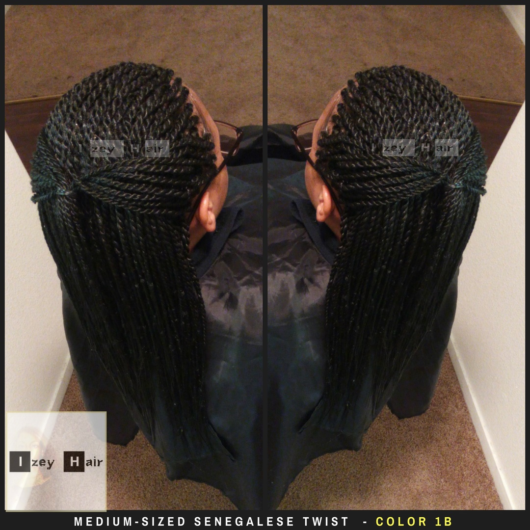 Medium Sized Senegalese Twist Color 1b