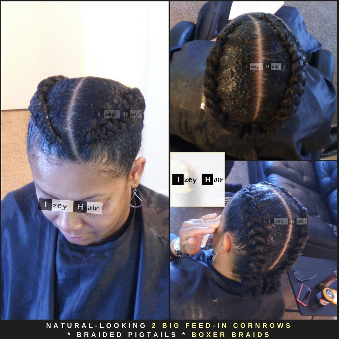 Natural Looking 2 Big Feed-in Cornrows - Braided Pigtails - Boxer Braids
