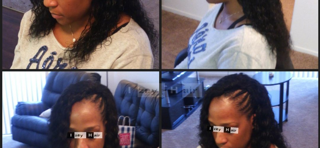 Part Weave and Part Feed-in Cornrows with Brazilian Deep Wave - Vegas