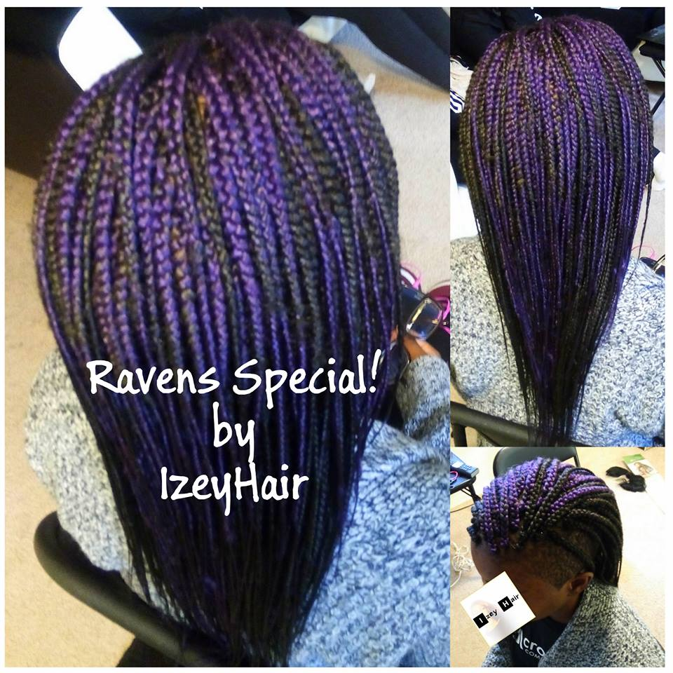 Baltimore Ravens Theme Box Braids - Under Cut Purple Braids