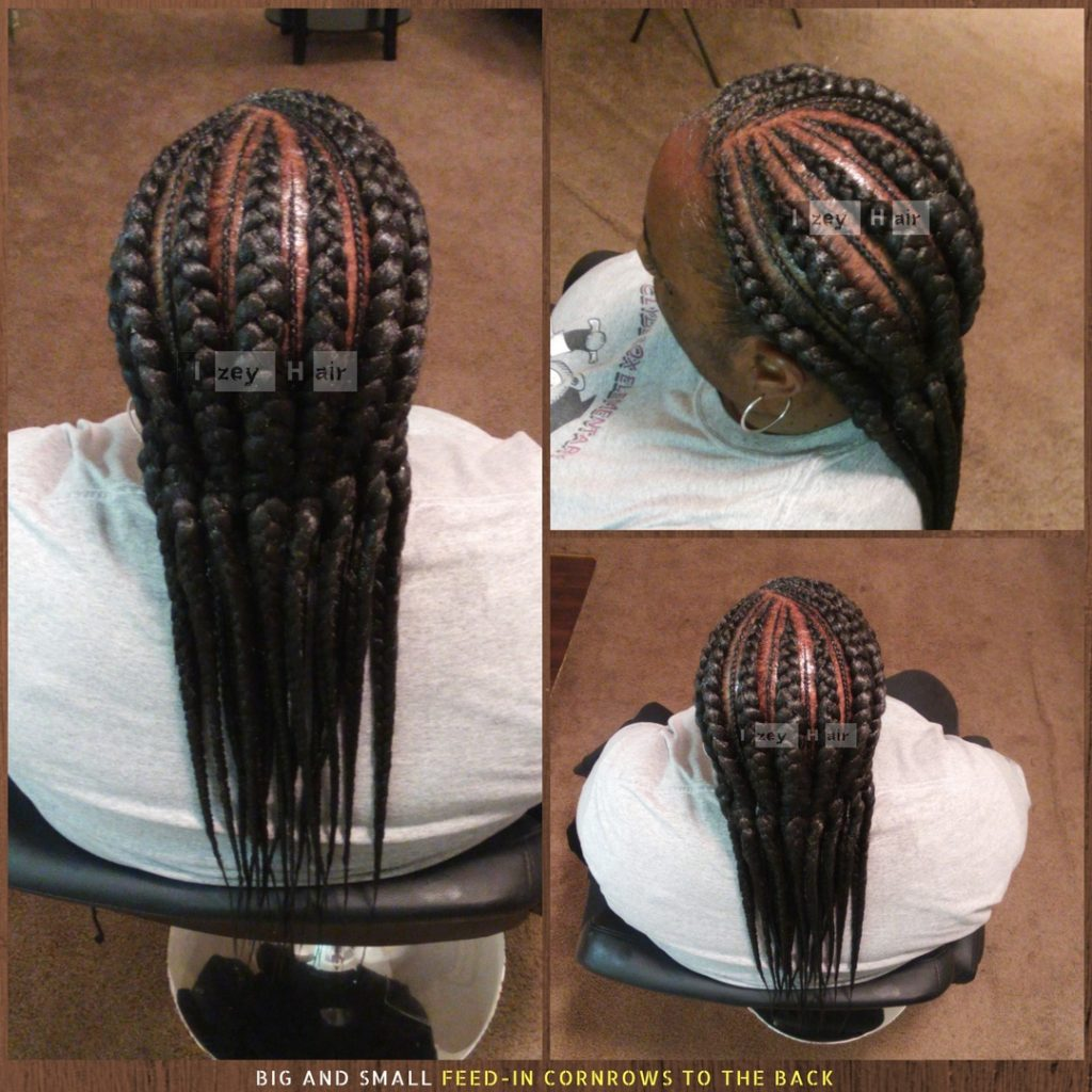 Big And Small Feed-in Cornrows To The Back - Izey Hair - Las Vegas, NV