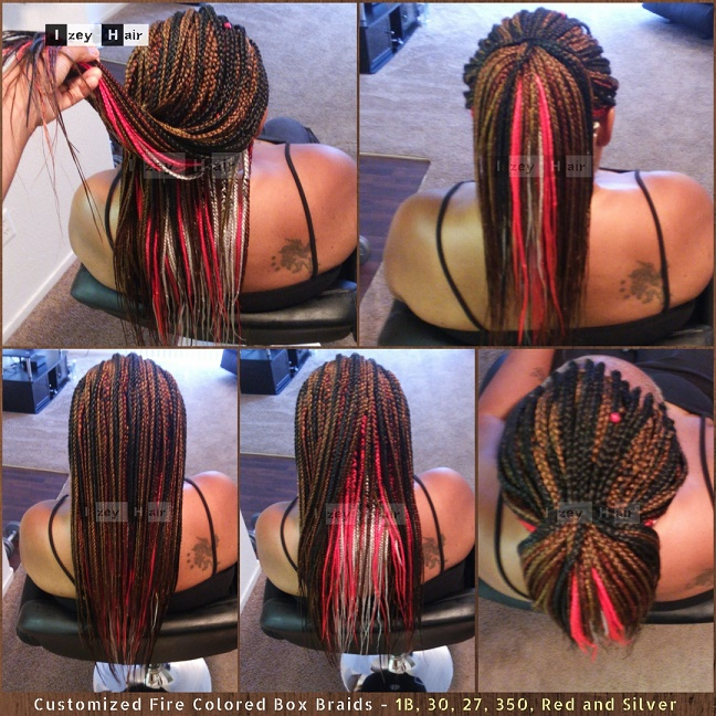 Customized Fire Colored Box Braids - 1B, 30, 27, 350, Red, Silver