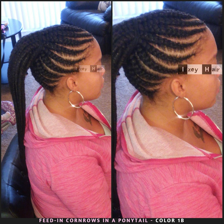 Feed-in Cornrows In A Ponytail - Color 1B