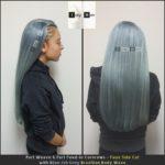 Cornrows - Faux Side Cut with Blue-ish Grey Brazilian Body Wave - Izey Hair - Vegas