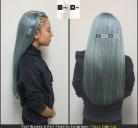 Cornrows - Faux Side Cut with Blue-ish Grey Brazilian Body Wave - Izey Hair - Vegas
