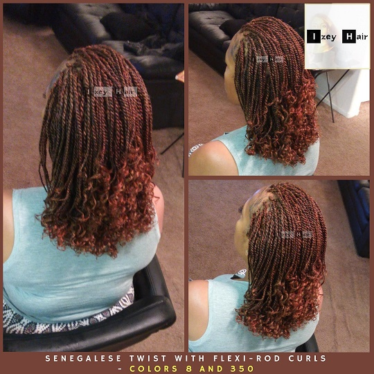Senegalese Twist With Flexi-Rod Curls - Colors 8 and 350- Izey Hair - Las Vegas, Nevada